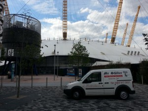 Mr Shifter London, parking up at The O2 in North Greenwich
