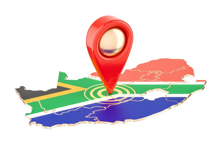 Map pointer on the map of South Africa, 3D rendering